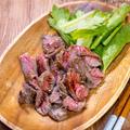 今日は肉と魚「牛ロースのペッパーステーキ(ハニーバルサミコソース)」&「鯛の塩焼き」
