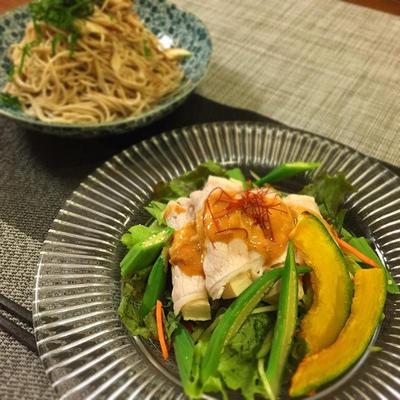 豆腐でカサ増し♡野菜たっぷり冷しゃぶサラダ*脱皮