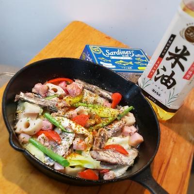 米油de缶サーディンと野菜の和風アヒージョ