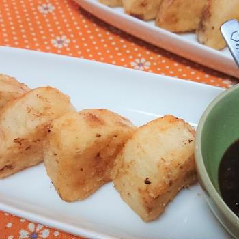 【レシピ】外パリッ!中ホクホク~【長芋ソテーの甘辛味噌ダレ】お弁当にも、おつまみにも!