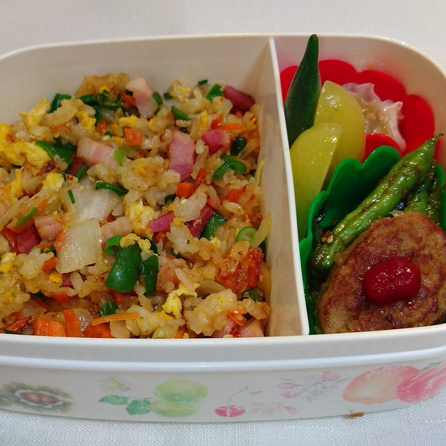 おはようございます今朝はました #ババじーさんのお弁当 #焼き飯 #いんげんの胡麻和...