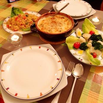 バッカラと菜花のグラタン、スパイシーなビリヤーニ