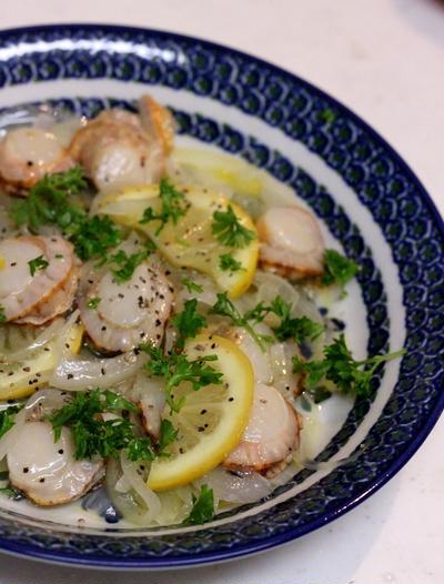 塩レモンDEホタテと玉葱のマリネ