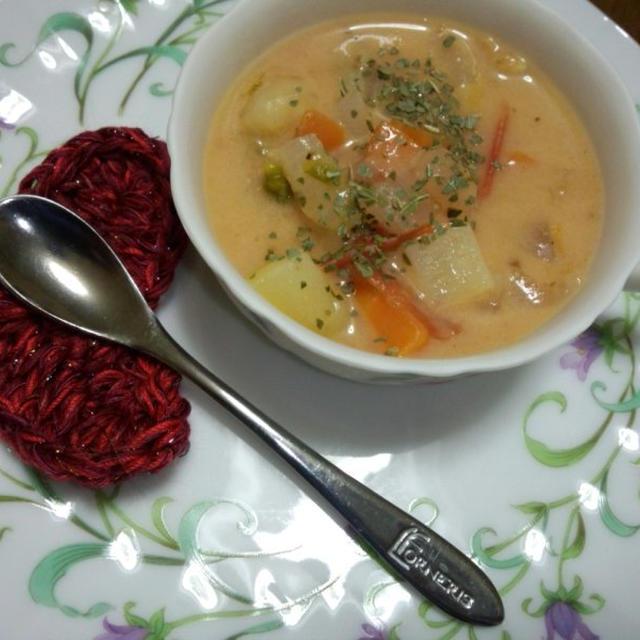 シーフードトマトミルクスープ