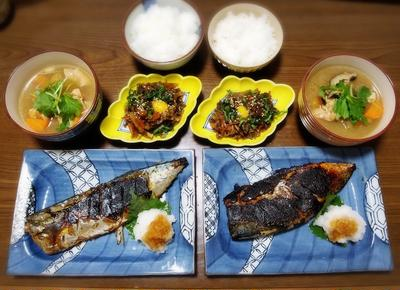 【家ごはん】 鯖の醤油麹焼き [レシピ] 牛しぐれ煮 / 冬瓜汁