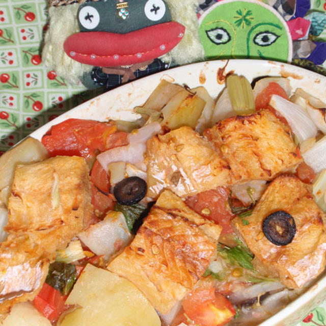 シチリア風干しダラのオーブン焼き&茄子の味噌ジュノベーゼサラダ(お家カフェ)