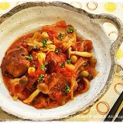 サンマつみれとお豆のトマト煮込み