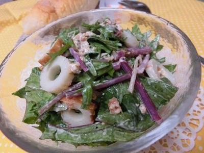 味見で完食しかけましたw 水菜とちくわの梅ごまマヨサラダ