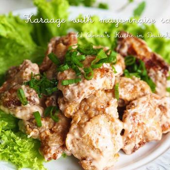 【レシピ・主菜】大人から子供まで大好き♪唐揚げ~オーロラマヨネーズソース~