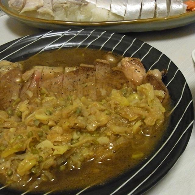 サーロインステーキ下仁田ポン酢ソース・手羽と里芋のピリ辛味噌煮・加賀れんこんとじゃこの塩きんぴら