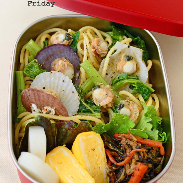 2月24日 金曜日 ベビー帆立とかき菜のボンゴレビアンコ