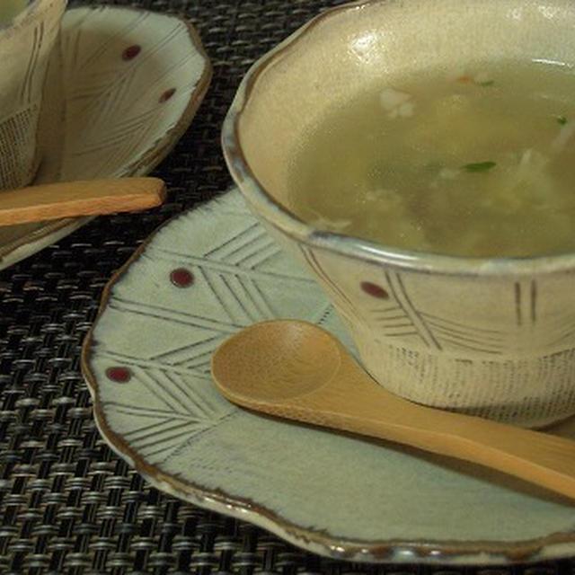 ニンジンと豆苗の中華スープ