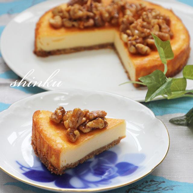 簡単*キャラメルナッツ載せベイクドチーズケーキ