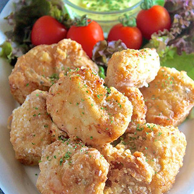むね肉なのに、男性も大満足〜♡『揚げ鶏の絶品♪カレーチーズソース添え』《簡単*節約》