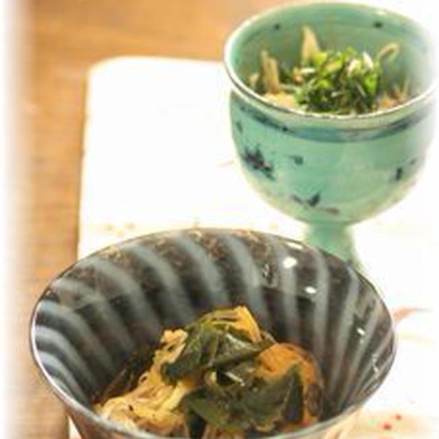 大根とわかめのコチュジャンキンピラ と キャベツの海苔マヨ和え。 それから夕ご飯。