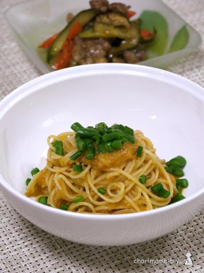 冷製和えるトマトピューレパスタ。豚肉のバルサミコエスカベッシュ。の晩ご飯。