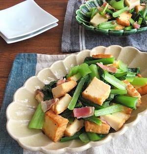 フライパンで簡単☆厚揚げと小松菜のアンチョビベーコン炒め