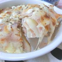 重ねる美味しさ♪ ポテトと生ハムとカッテージチーズのラザニア風