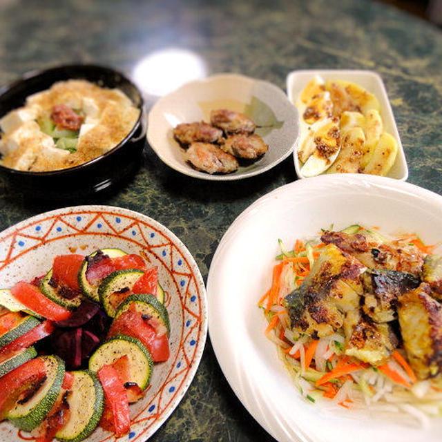 6月22の献立☆カレー風味の塩麹焼き鯖サラダ、スパイスモニターそして卵のおかずもあるねん全5品