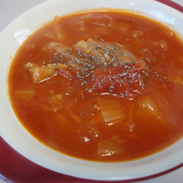 お玉deレシピ☆白菜とブタバラの元気トマトスープ