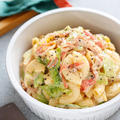 かに玉とキャベツのマカロニサラダ【#作り置き #お弁当 #お鍋ひとつ #包丁不要 #副菜】