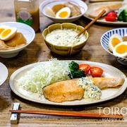 便利グッズが大活躍のサーモンソテー定食と、今日のレシピ