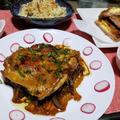 鶏もも肉と飴色玉ねぎ煮と冷凍食品ハンバーグのリメイク