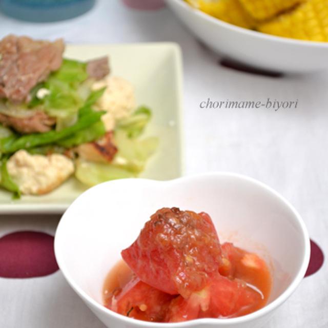 梅おかかトマト&ドレッシング。豚肉とキャベツのオイスターしょうが炒め。の晩ご飯。