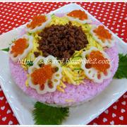 雛祭りピンクのちらし寿司ケーキ