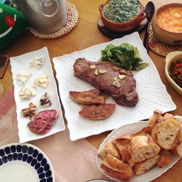 '15クリスマスごはんその1~メインの牛ステーキに合わせて温野菜をどっさり!「にんじんのキャセロール」「ほうれん草のキャセロール」「いんげんとロマネスコのトマト煮」