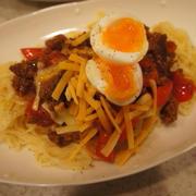 【ひき肉とパプリカのトマトソースパスタ (レシピ)】