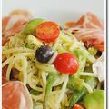 冷蔵庫の残り物で作った生ハムとアボカド、オクラ、ミニトマト、黒オリーブの冷製スパゲッティ
