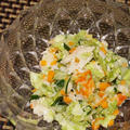 香箱のコールスローサラダ、納豆と枝豆のイタリアンとも和え、能登サザエの梅薫ジェノベーゼパスタ