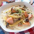 鮭とじゃがいものしらたきクリームスープスパゲティ【ほっこりダイエットパスタ】|レシピ・作り方