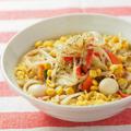 金の麺アレンジ、ちゃんぽん風、カルボナーラ風、ほうれん草とろみスープ