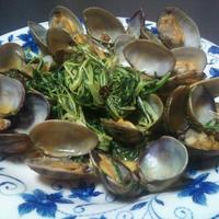 水菜とアサリのペペロンチーノ☆