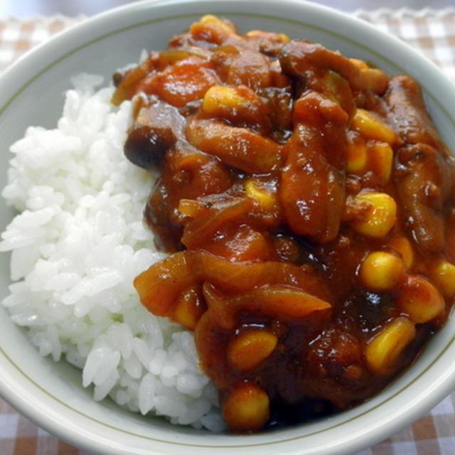 コーンとシメジのカレー丼(プチ丼)