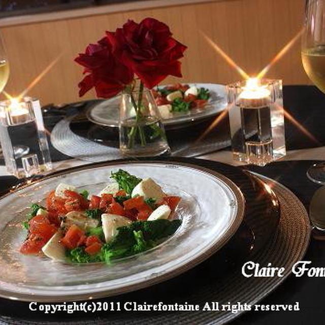 菜の花とモッツアレラの前菜