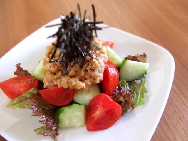 きゅうりとトマトの冷たい納豆サラダ