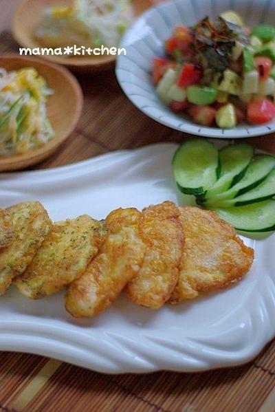 夏アレンジ☆鶏むね肉のピカタと、トマトとアボカドのタルタルユッケ