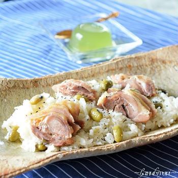 ひたし豆と鶏肉の洋風炊き込みご飯♪岩見沢の睡蓮