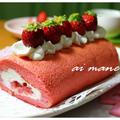 ふわふわイチゴスポンジのロールケーキ by 杏衣◇さん