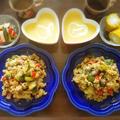 【家ごはん】 炒飯ランチ♪ [レシピ] 夏野菜のカレー炒飯 / 自家製ピクルス / 人参とニンニクのポタージュスープ * ケンタッキー 30%OFFバーレル