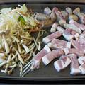 朝から焼肉パーティー\(^o^)/カルディの焼肉ザ・パンチが美味しいです(^^)