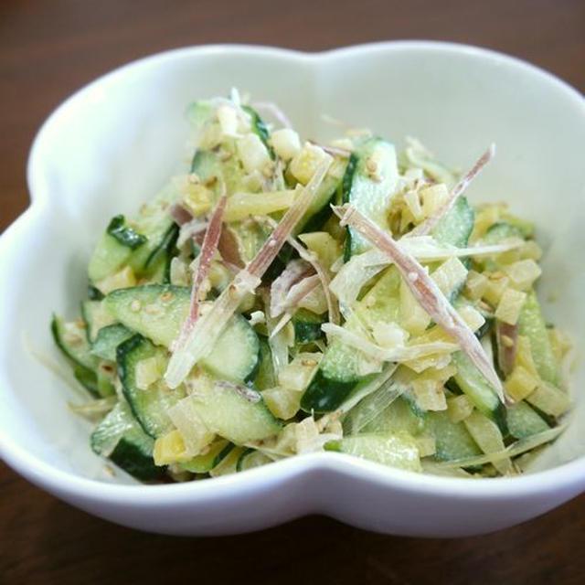【簡単レシピ】胡瓜と茗荷の沢庵deマヨごま和え♪