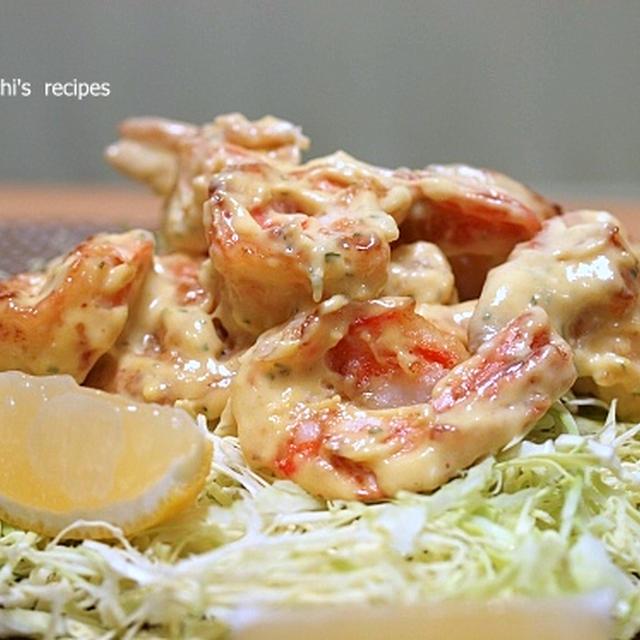 海老マヨマスタードと「山芋と舞茸のピリ辛炒め」