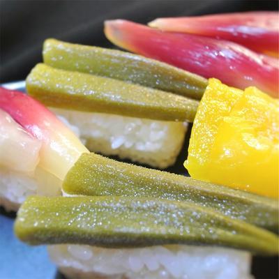だし酢、「だしのきいたまろやかかなお酢」で作る野菜寿司、茗荷、オクラ、パプリカ