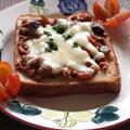 <茄子とトマトのミートソースのピッツァトースト>