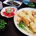 烏賊の天ぷらとトマトサラダなど