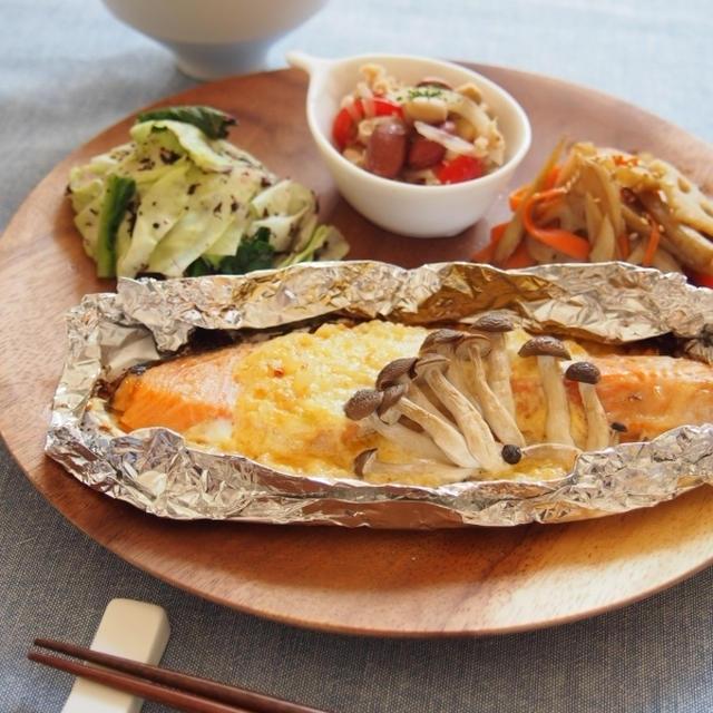 【便秘解消!!】鮭の味噌マヨネーズプレート